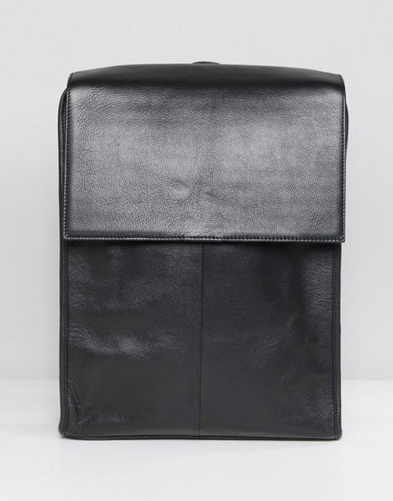 エイソス メンズ バックパック・リュックサック バッグ ASOS DESIGN leather backpack in black with fold over top Black