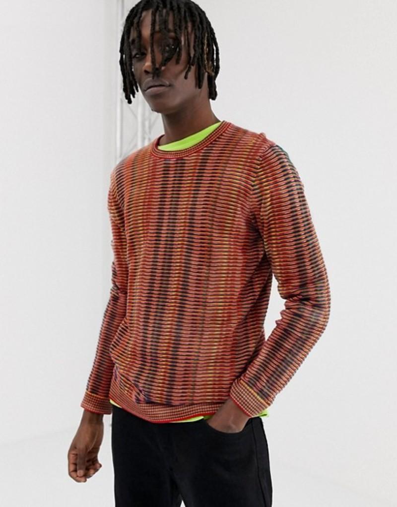 エイソス メンズ ニット・セーター アウター ASOS DESIGN sweater in rainbow stripe Multi
