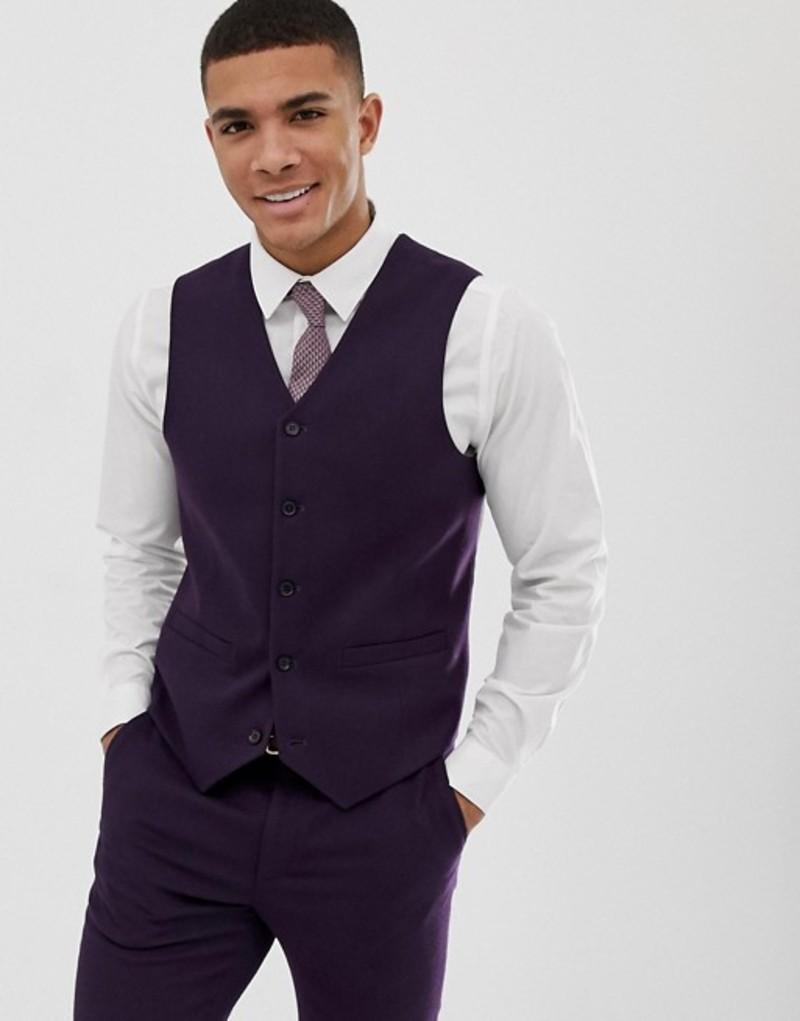 エイソス メンズ タンクトップ トップス ASOS DESIGN wedding skinny suit vest in purple micro texture Purple