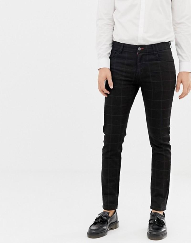 エイソス メンズ デニムパンツ ボトムス ASOS DESIGN smart skinny jean in black check Black