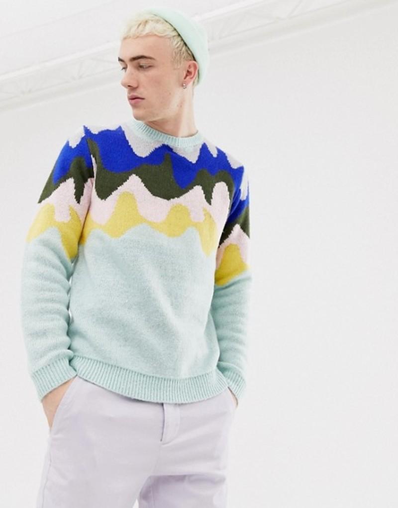 エイソス メンズ ニット・セーター アウター ASOS DESIGN knitted sweater with design pattern in mint Green