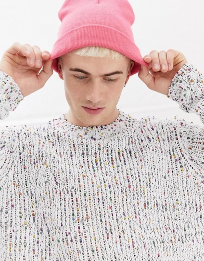 エイソス メンズ ニット・セーター アウター ASOS DESIGN knitted relaxed fit slub chenille sweater in white White