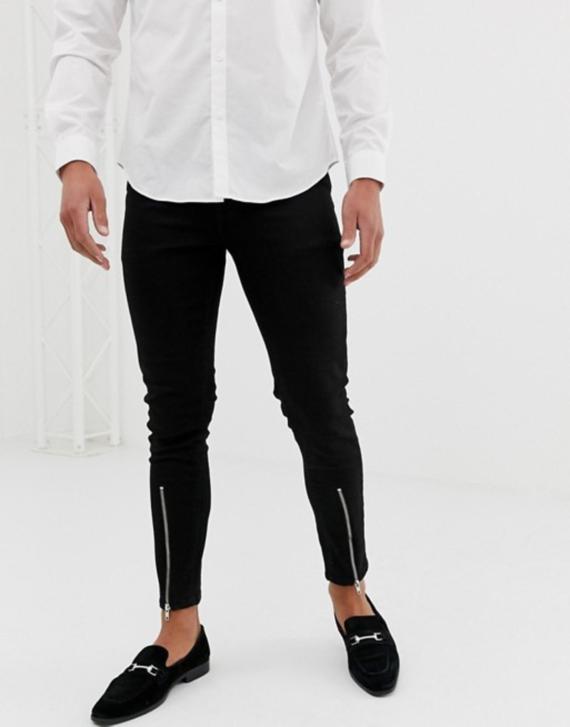 エイソス メンズ デニムパンツ ボトムス ASOS DESIGN skinny jean with zipped hem detail in black Black