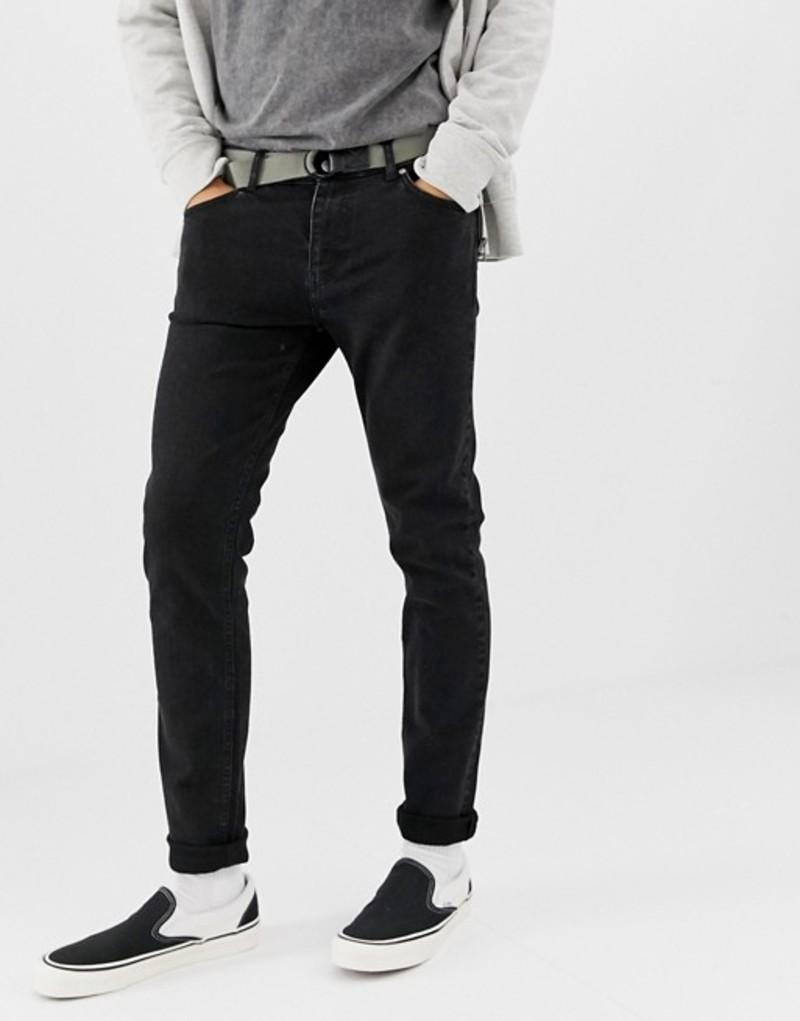 ウィークデイ メンズ デニムパンツ ボトムス Weekday friday skinny jeans tuned black Black