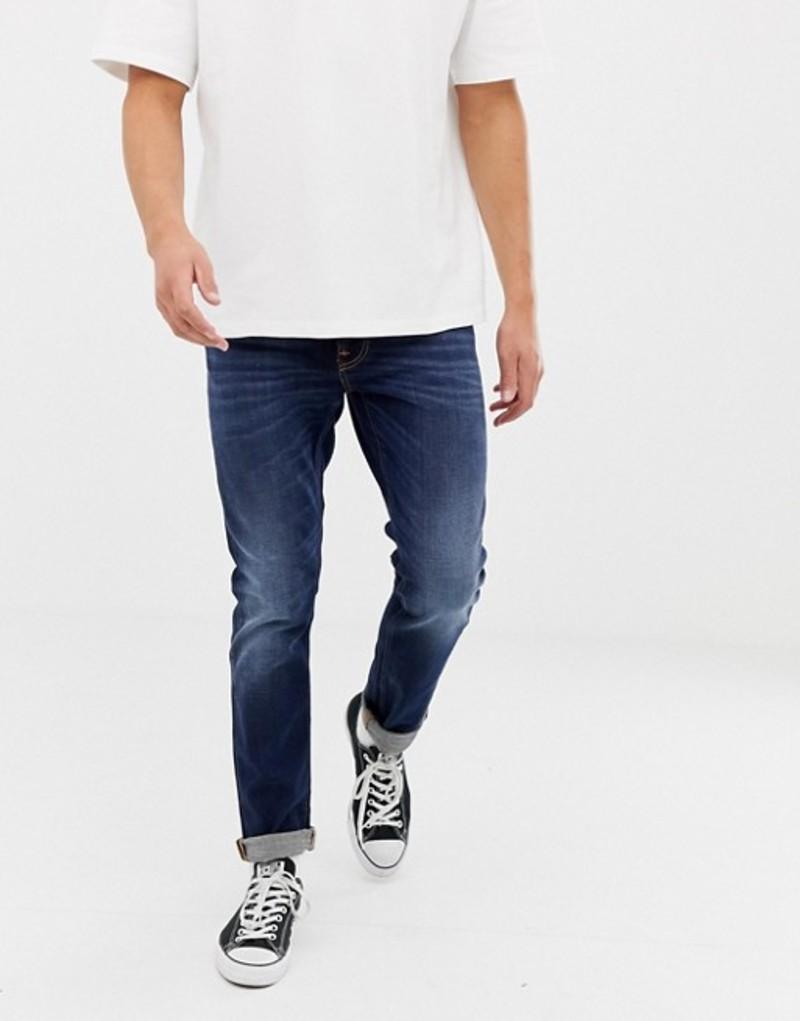ヌーディージーンズ メンズ デニムパンツ ボトムス Nudie Jeans Co Lean Dean slim fit jeans dark deep worn wash Blue