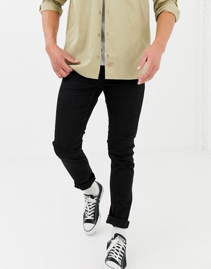 オンリーアンドサンズ メンズ デニムパンツ ボトムス Only & Sons skinny black jeans Black denim