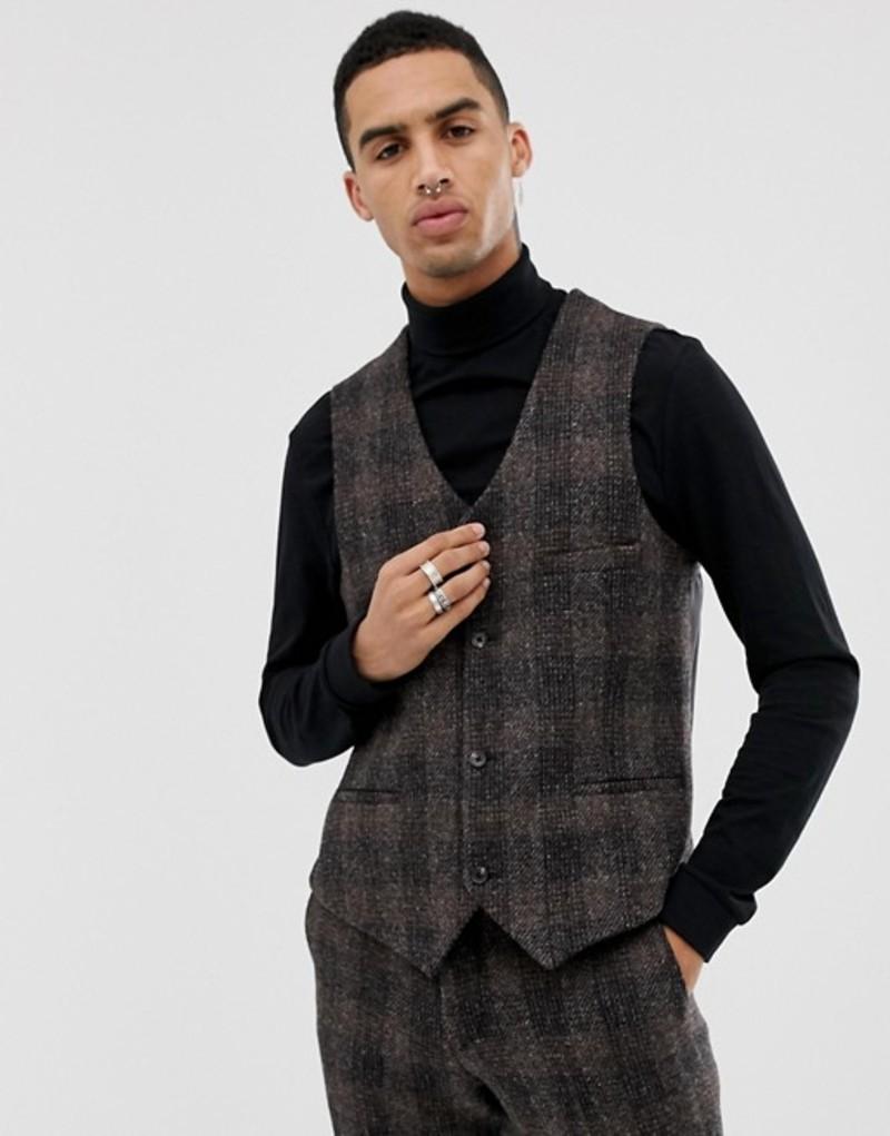 ハートアンドダガー メンズ タンクトップ トップス Heart & Dagger slim suit vest in brown harris tweed Brown
