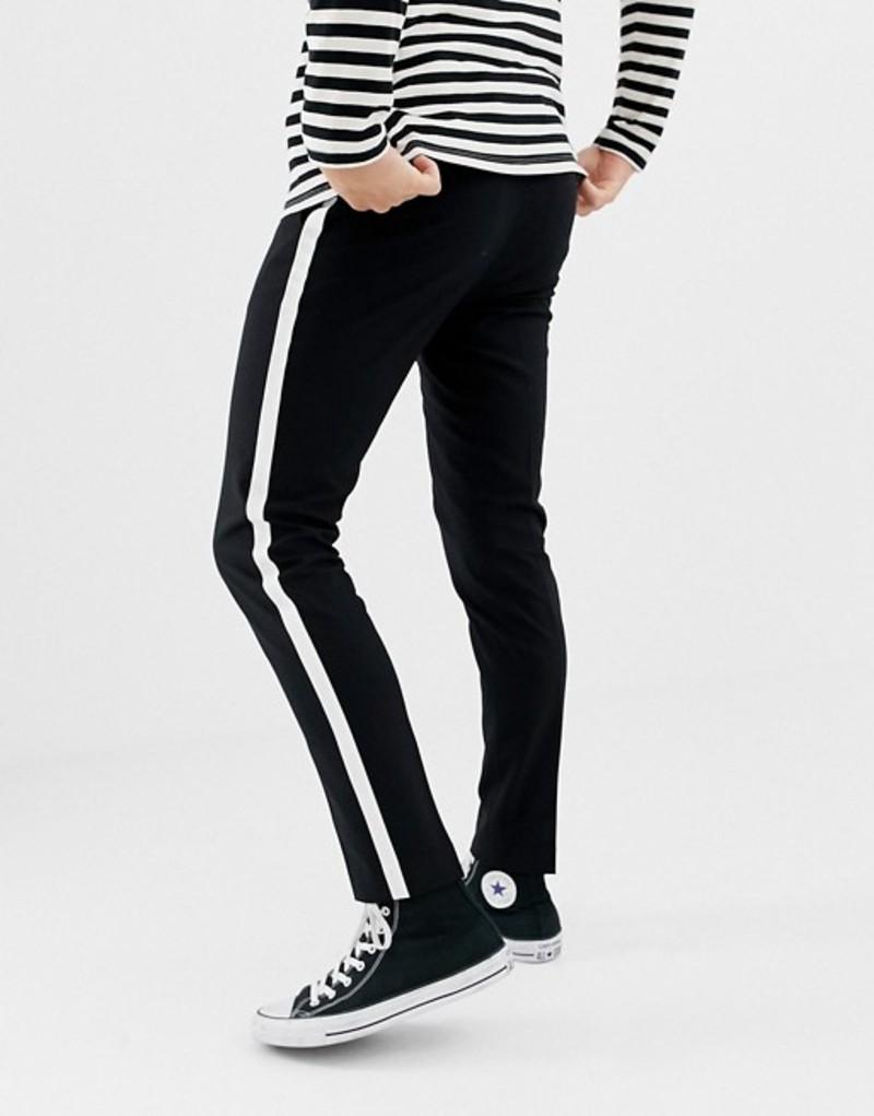 オンリーアンドサンズ メンズ カジュアルパンツ ボトムス Only & Sons smart pants with satin side stripe Black/stripe