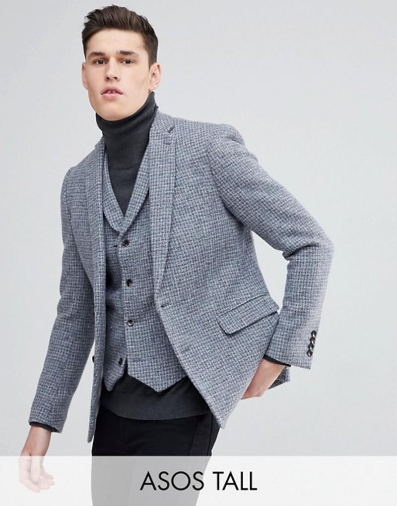 エイソス メンズ ジャケット・ブルゾン アウター ASOS TALL Slim Blazer in Harris Tweed 100% Wool Light Gray Check Grey