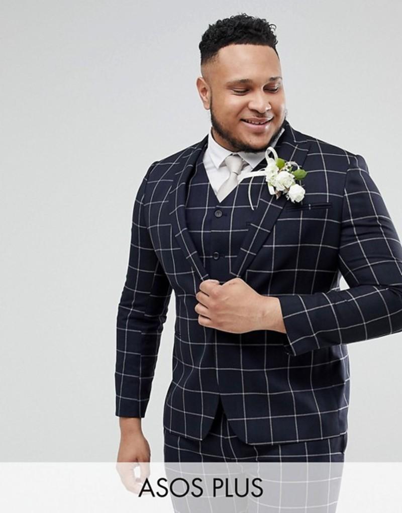 エイソス メンズ ジャケット・ブルゾン アウター ASOS PLUS Wedding Skinny Suit Jacket In Navy Windowpane Check Navy
