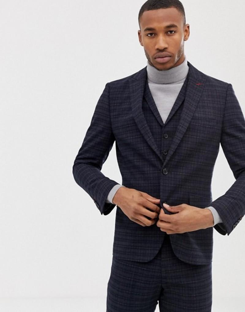 ハリー ブラウン メンズ ジャケット・ブルゾン アウター Harry Brown navy and gold slim fit check suit jacket Blue