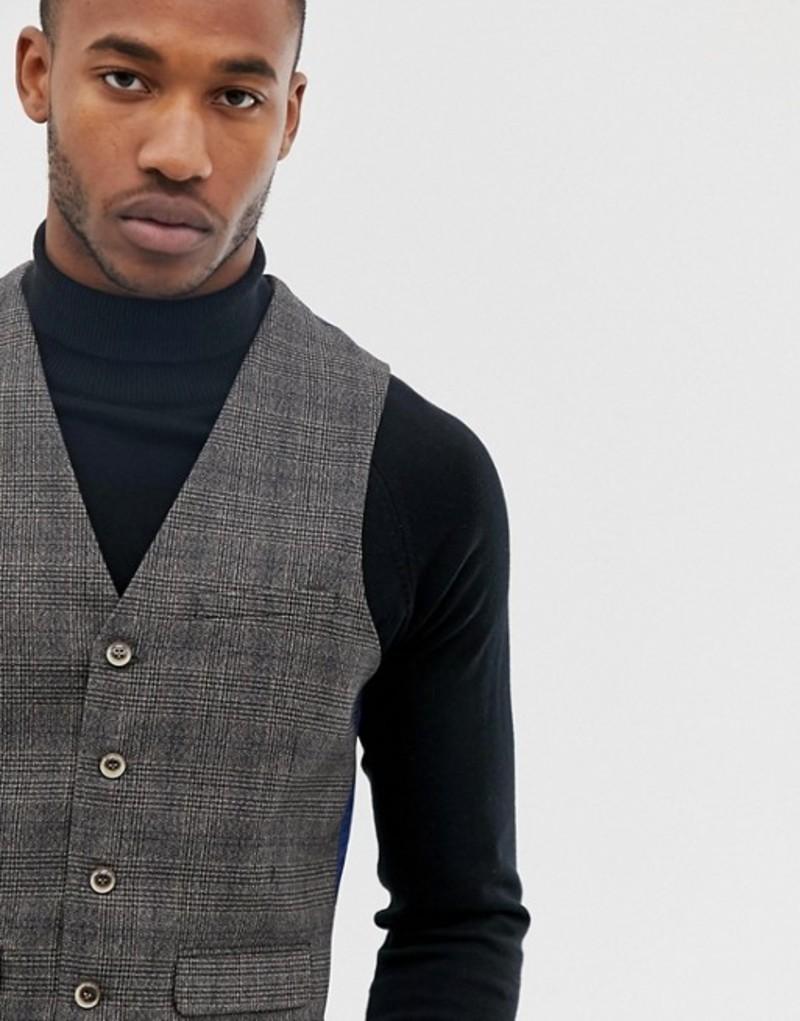 ハリー ブラウン メンズ タンクトップ トップス Harry Brown gray check slim fit suit vest Grey