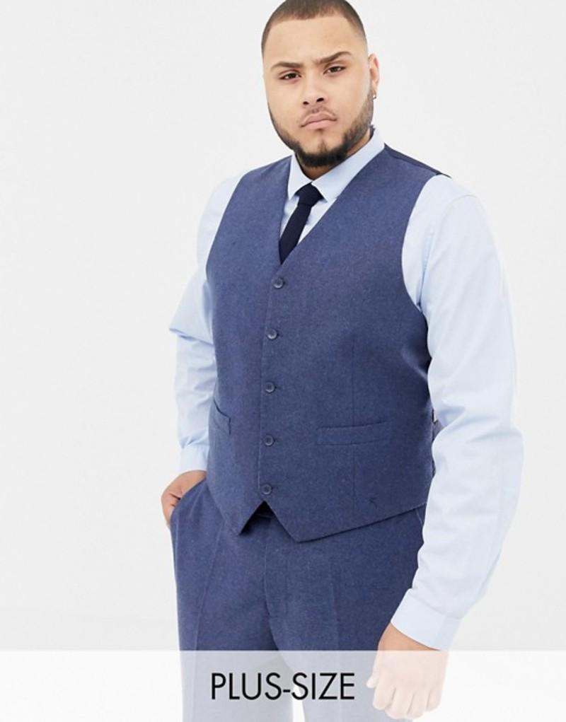 ジャンニ フェロー メンズ タンクトップ トップス Gianni Feraud Plus slim fit wool blend heritage donnegal vest Navy