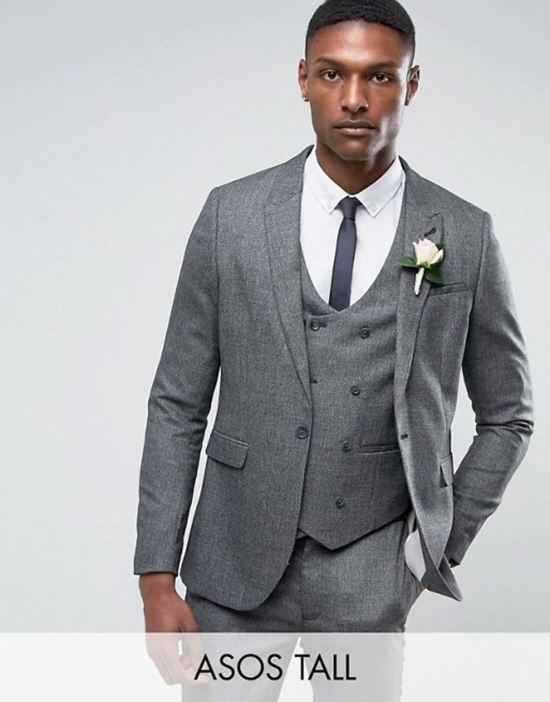 エイソス メンズ ジャケット・ブルゾン アウター ASOS TALL Wedding Skinny Suit Jacket In Slate Gray Woven Texture Grey