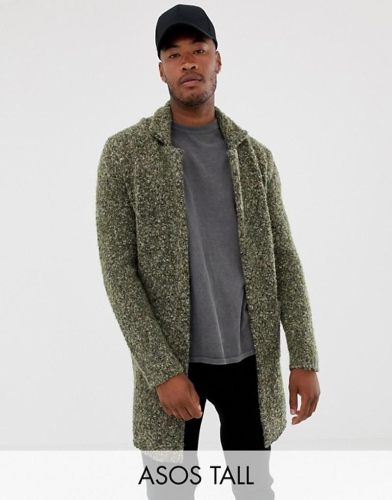 エイソス メンズ ジャケット・ブルゾン アウター ASOS DESIGN Tall heavyweight textured duster jacket in khaki Khaki