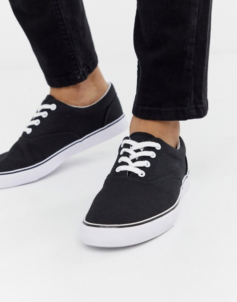 エイソス メンズ スニーカー シューズ ASOS DESIGN lace up plimsolls in black Black