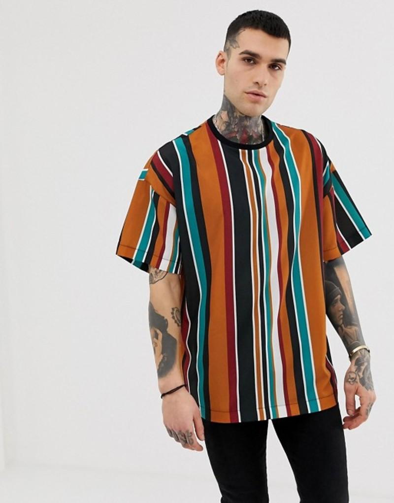 リクレイム ヴィンテージ メンズ Tシャツ トップス Reclaimed Vintage inspired wide stripe woven t-shirt Multi