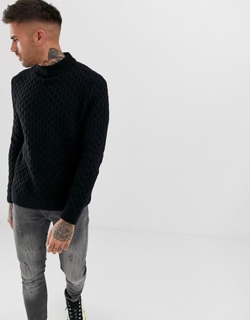 エイソス メンズ ニット・セーター アウター ASOS DESIGN textured cable knit sweater in black Black