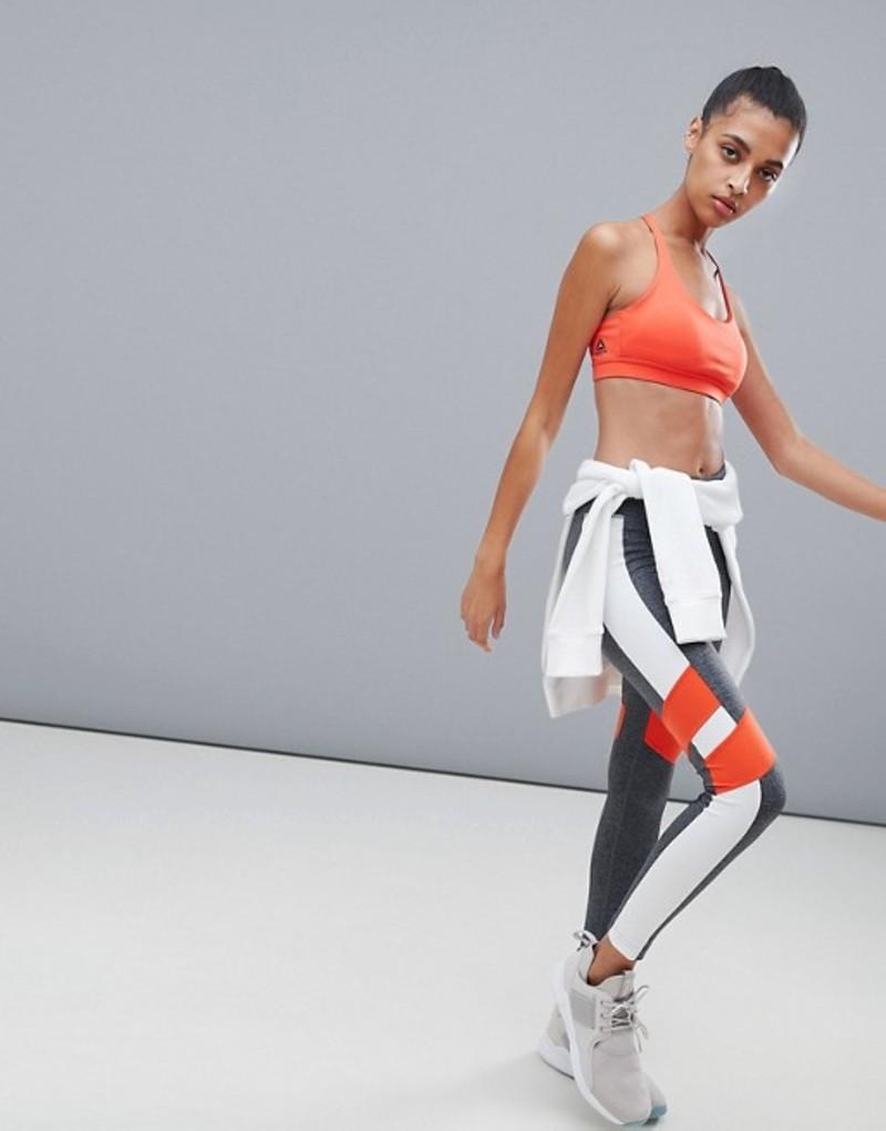 リーボック レディース レギンス ボトムス Reebok Training Color Block Leggings In Gray And Red Grey/pink