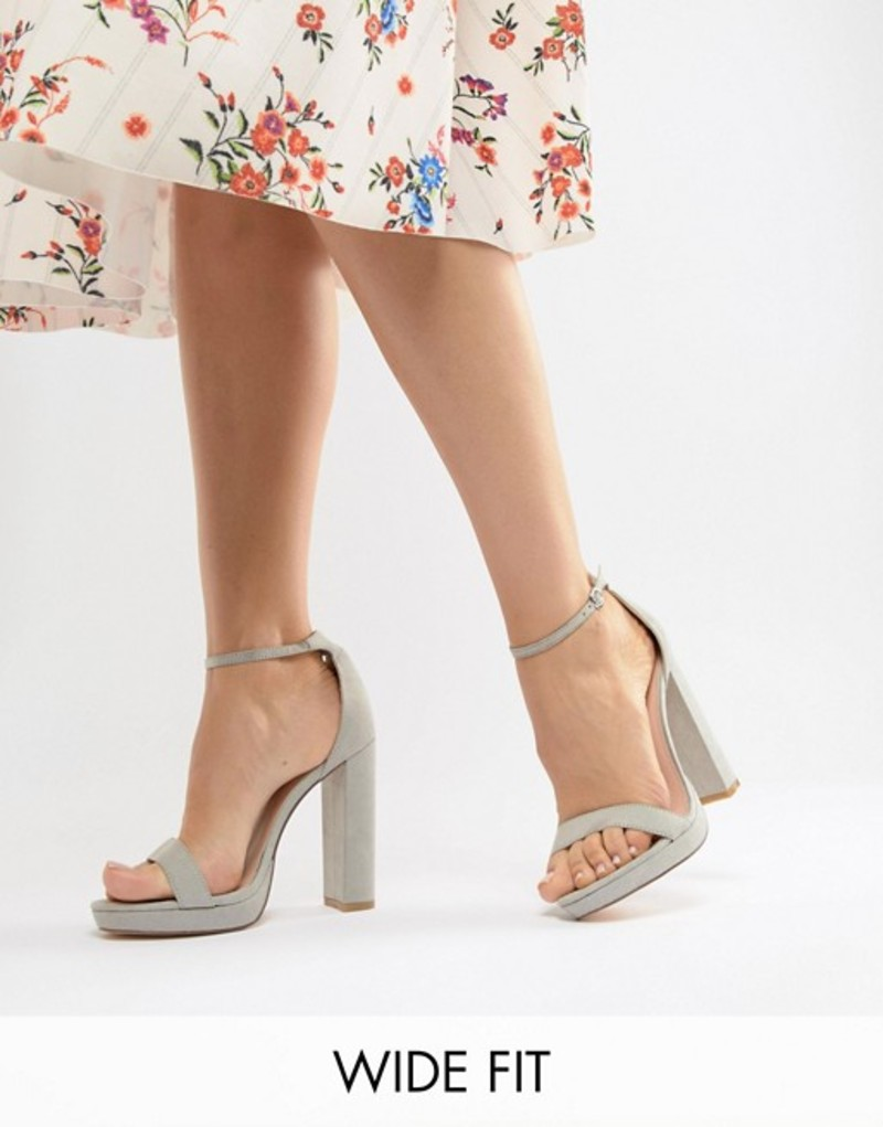 ココレン レディース ヒール シューズ Coco Wren Wide Fit Platform Heeled Sandals Grey
