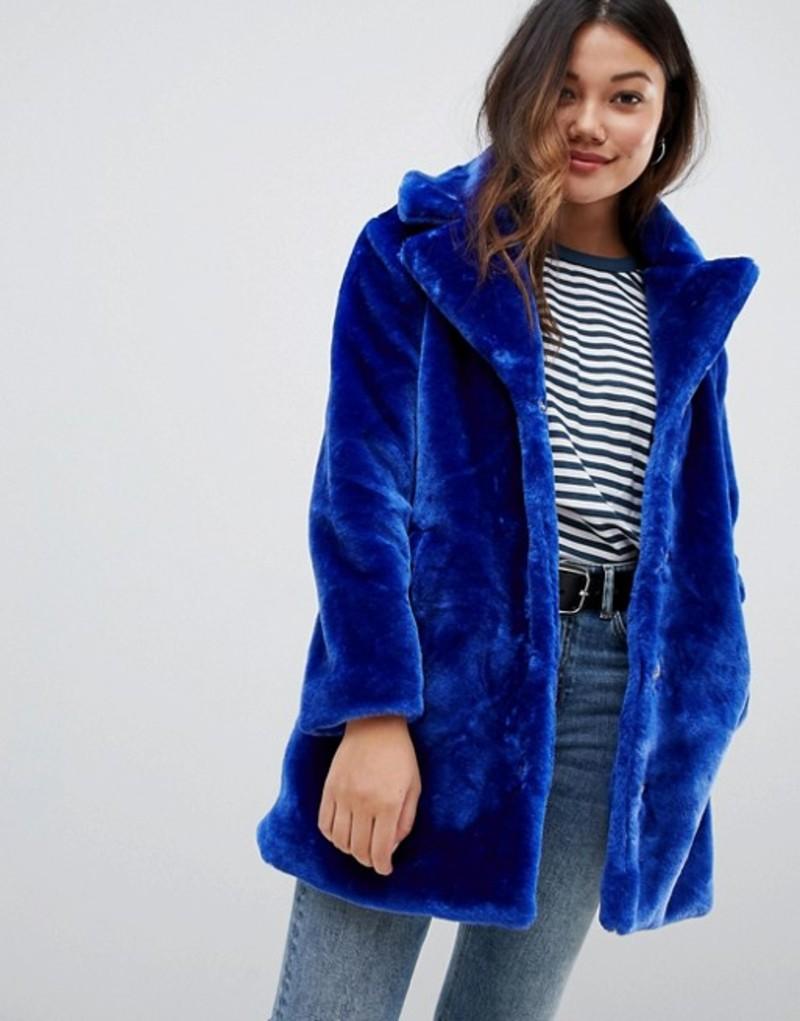 ブレーブソウル レディース コート アウター Brave Soul tasmin faux fur tailored coat Cobalt blue