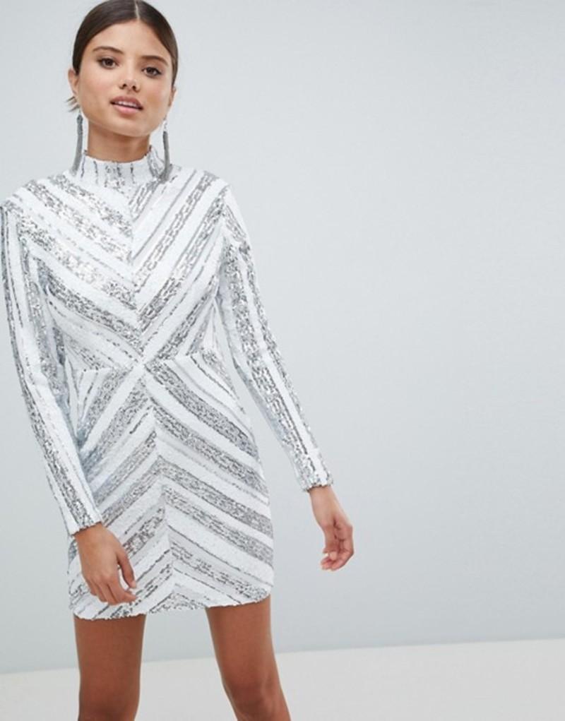 ガール イン マインド レディース ワンピース トップス Girl In Mind Sequin Long Sleeve Mini Dress Silver