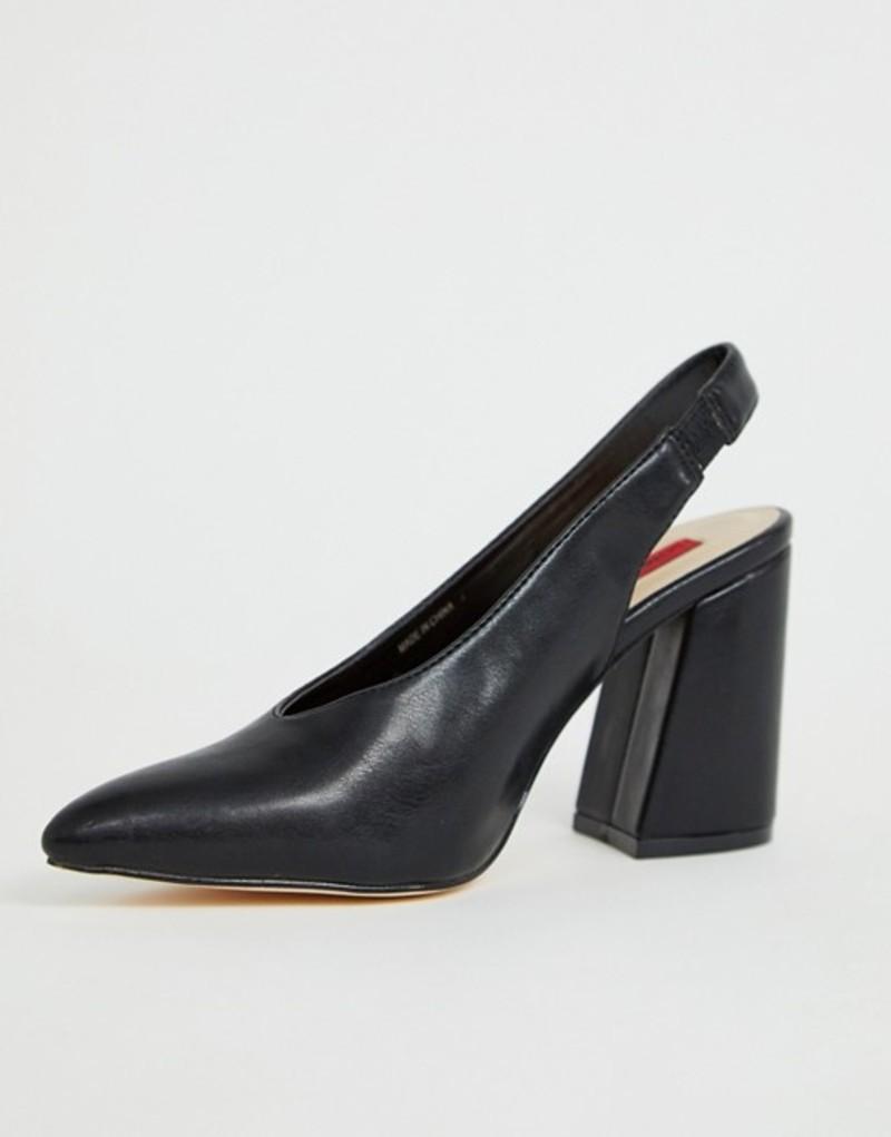 ロンドンレベル レディース ヒール シューズ London Rebel sling back pointed block heels Black pu