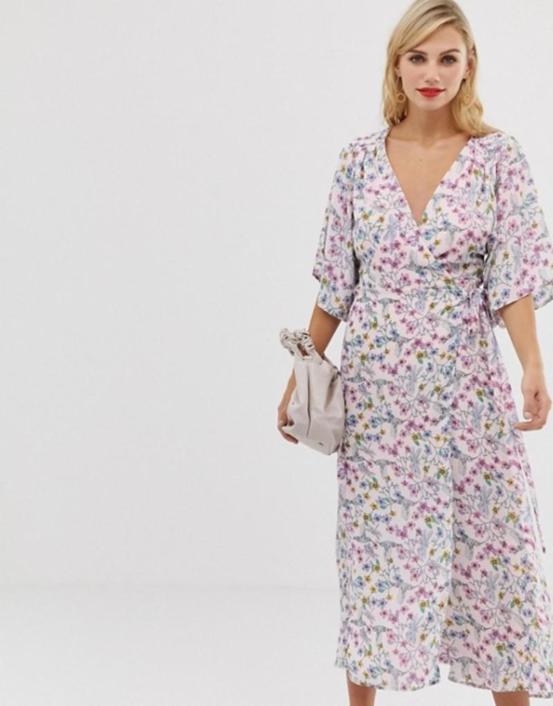 リクオリッシュ レディース ワンピース トップス Liquorish floral maxi wrap dress with fluted sleeves White