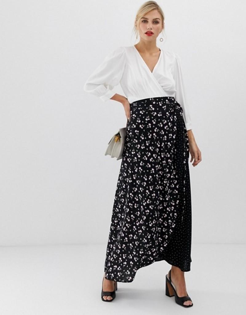 リクオリッシュ レディース スカート ボトムス Liquorish floral wrap front maxi skirt Black