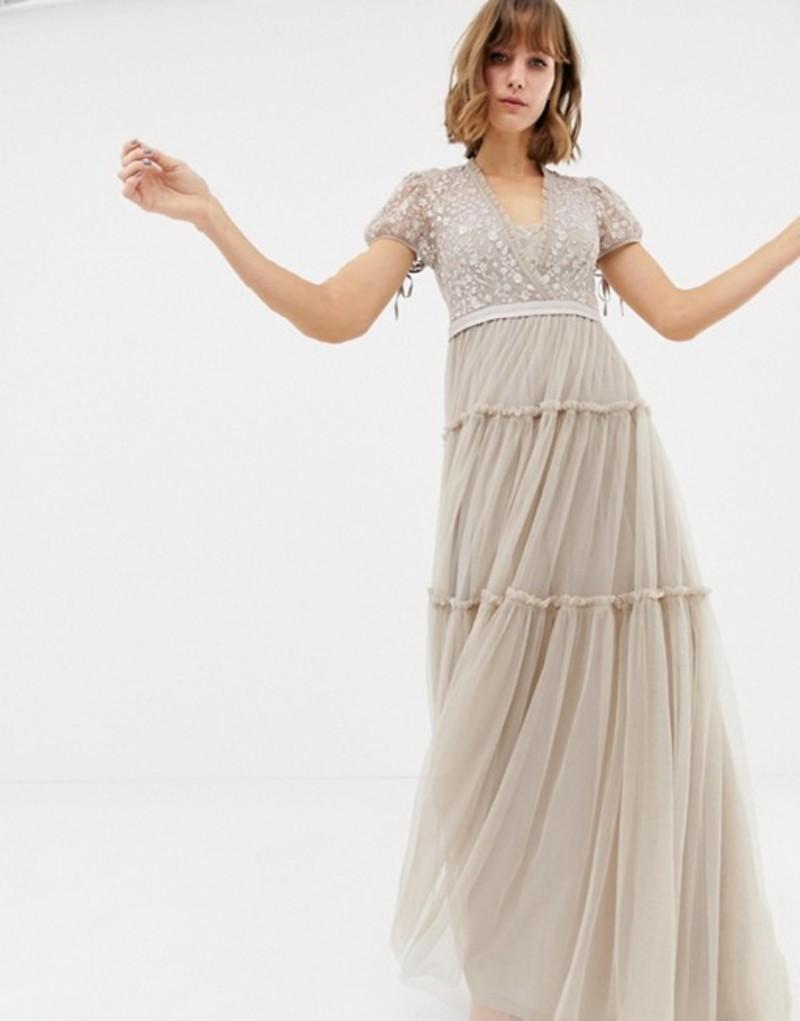 ニードルアンドスレッド レディース ワンピース トップス Needle & Thread embroidered tulle maxi dress with cap sleeve in rose Cinder rose