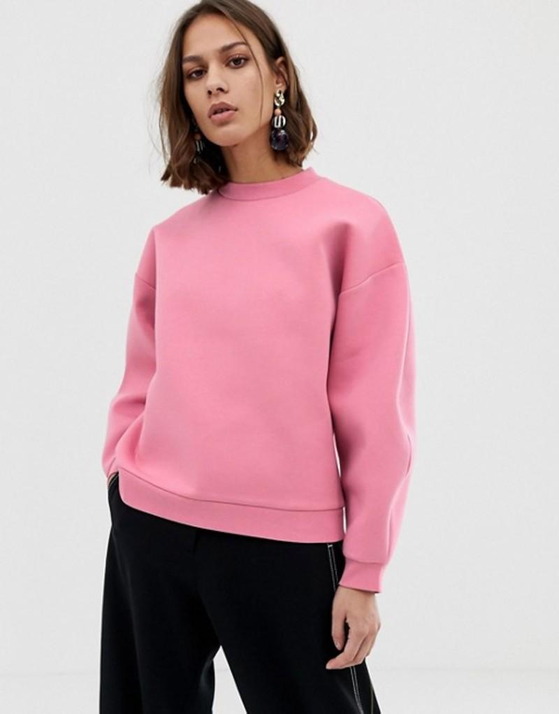 エイソス レディース パーカー・スウェット アウター ASOS WHITE bonded sweatshirt Pink