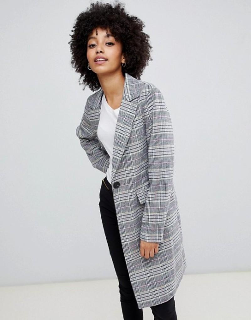 ニュールック レディース コート アウター New Look tailored coat in mixed check Multi