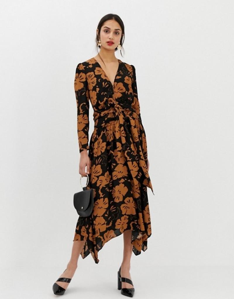 ホイッスルズ レディース スカート ボトムス Whistles Limited Ari midi skirt in hibiscus print Brown/multi