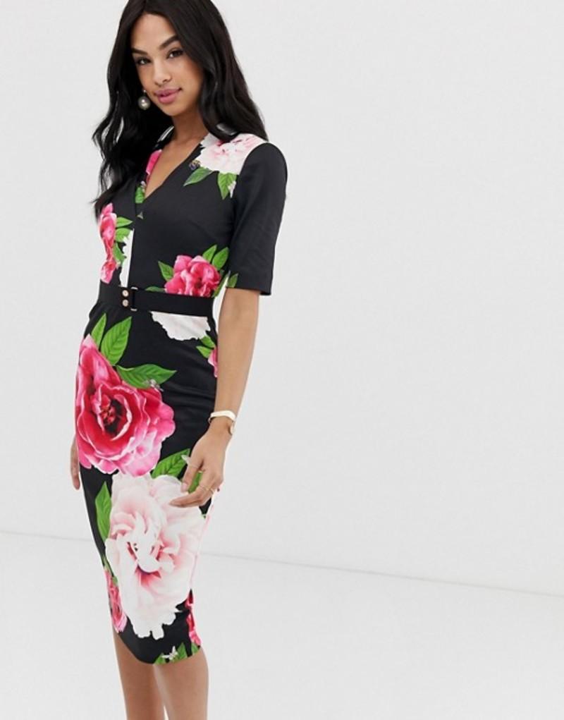 テッドベーカー レディース ワンピース トップス Ted Baker Gilanno magnificant floral bodycon dress Black