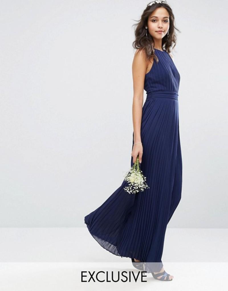 ティエフエヌシー レディース ワンピース トップス TFNC bridesmaid exclusive high neck pleated maxi dress Navy