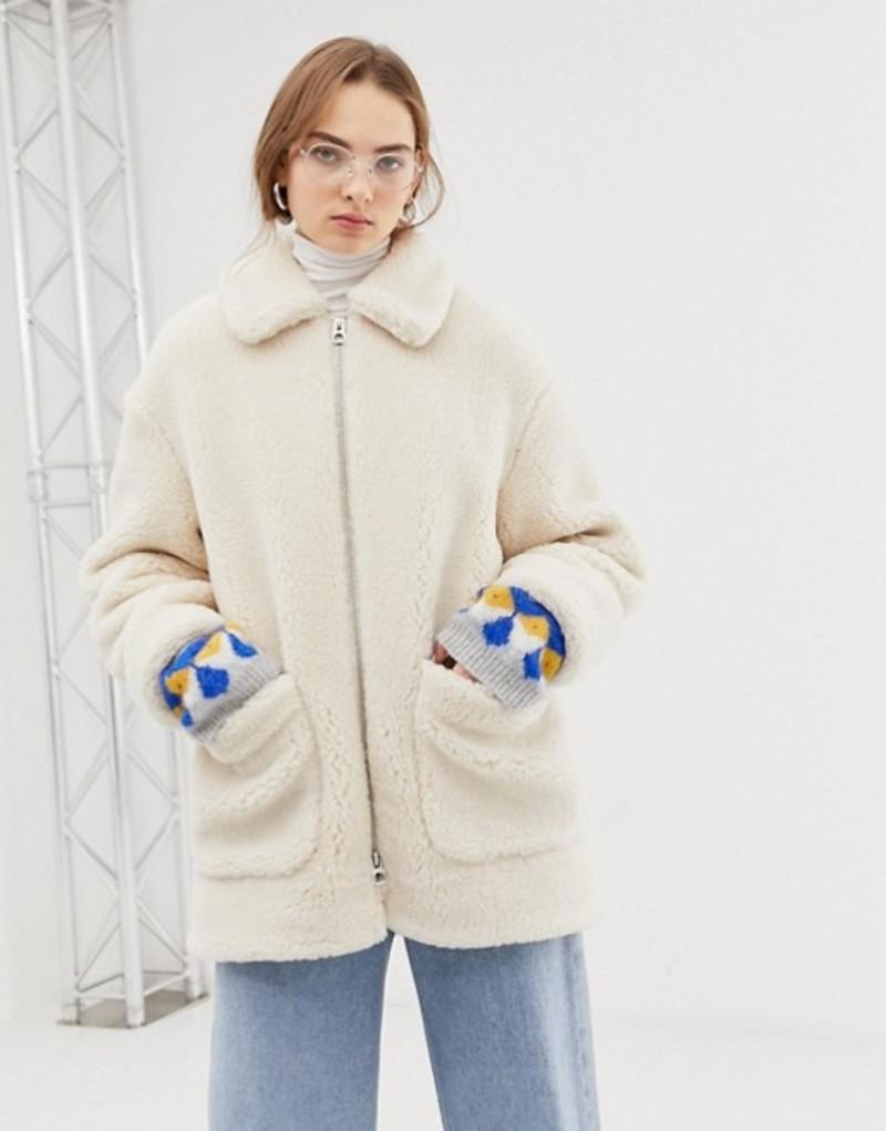ウィークデイ レディース ジャケット・ブルゾン アウター Weekday teddy zip through jacket in White Off white