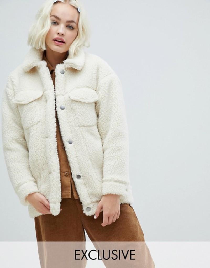 モンキ レディース ジャケット・ブルゾン アウター Monki teddy trucker jacket in off white White