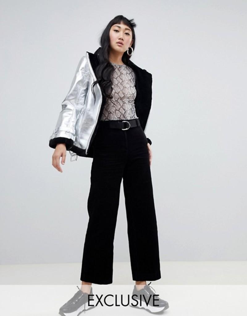 モンキ レディース カジュアルパンツ ボトムス Monki cord pants in black Black