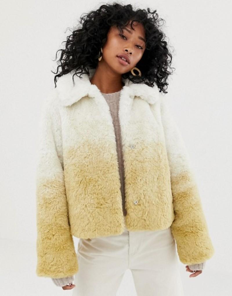 ウィークデイ レディース ジャケット・ブルゾン アウター Weekday Short Faux Fur Jacket in Gradient Beige Beige gradient