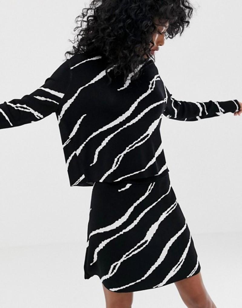 ウィークデイ レディース スカート ボトムス Weekday knitted mini skirt with swirl print Jacquard