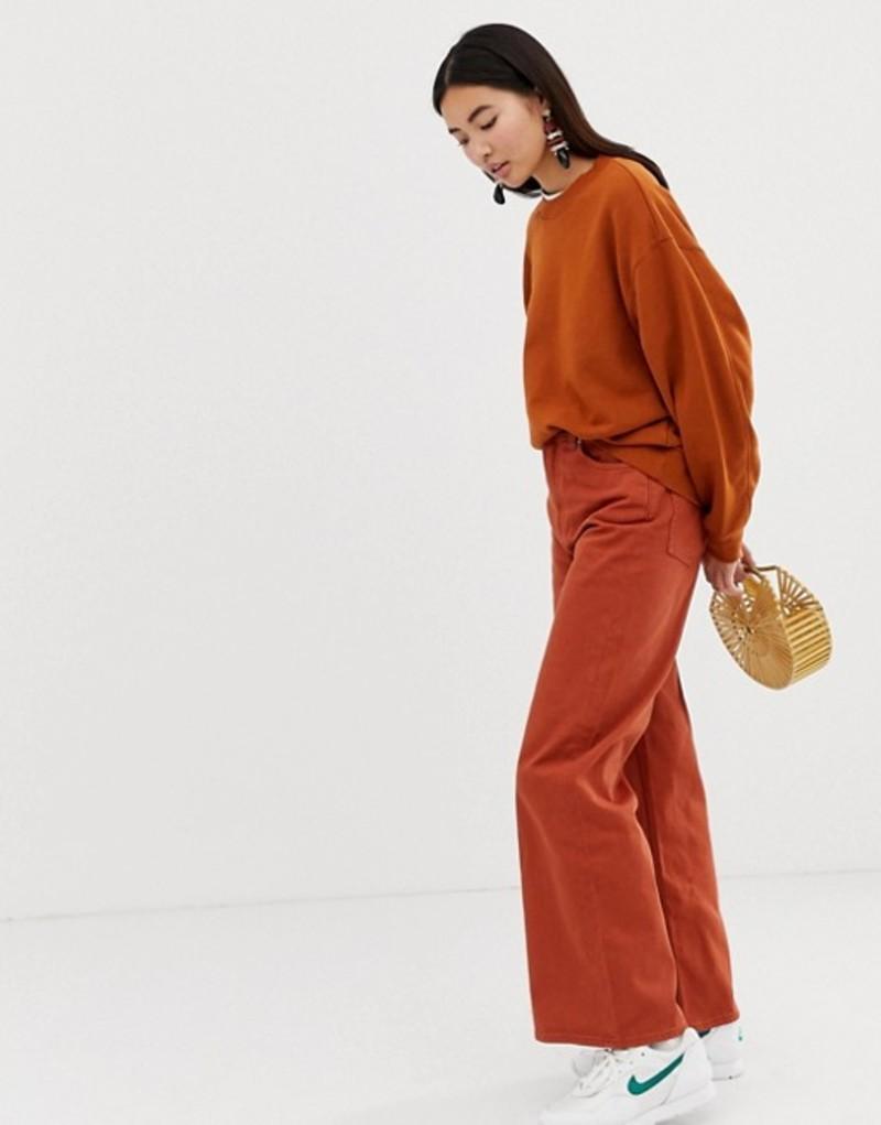 ウィークデイ レディース デニムパンツ ボトムス Weekday Ace wide leg jeans with organic cotton in rust Rust