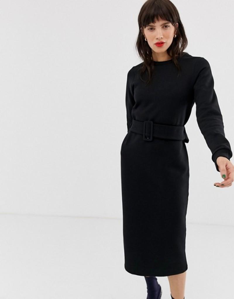 リバーアイランド レディース ワンピース トップス River Island sweat dress with belt in black Black