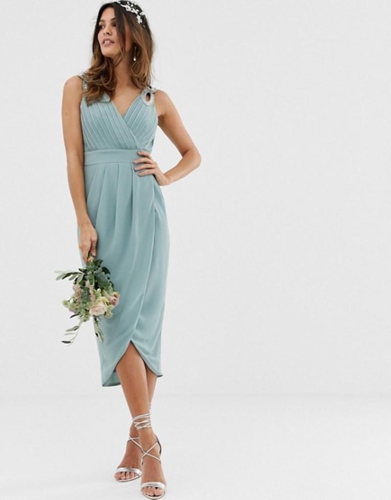 ティエフエヌシー レディース ワンピース トップス TFNC bridesmaid exclusive wrap midi dress in sage Dusty sage