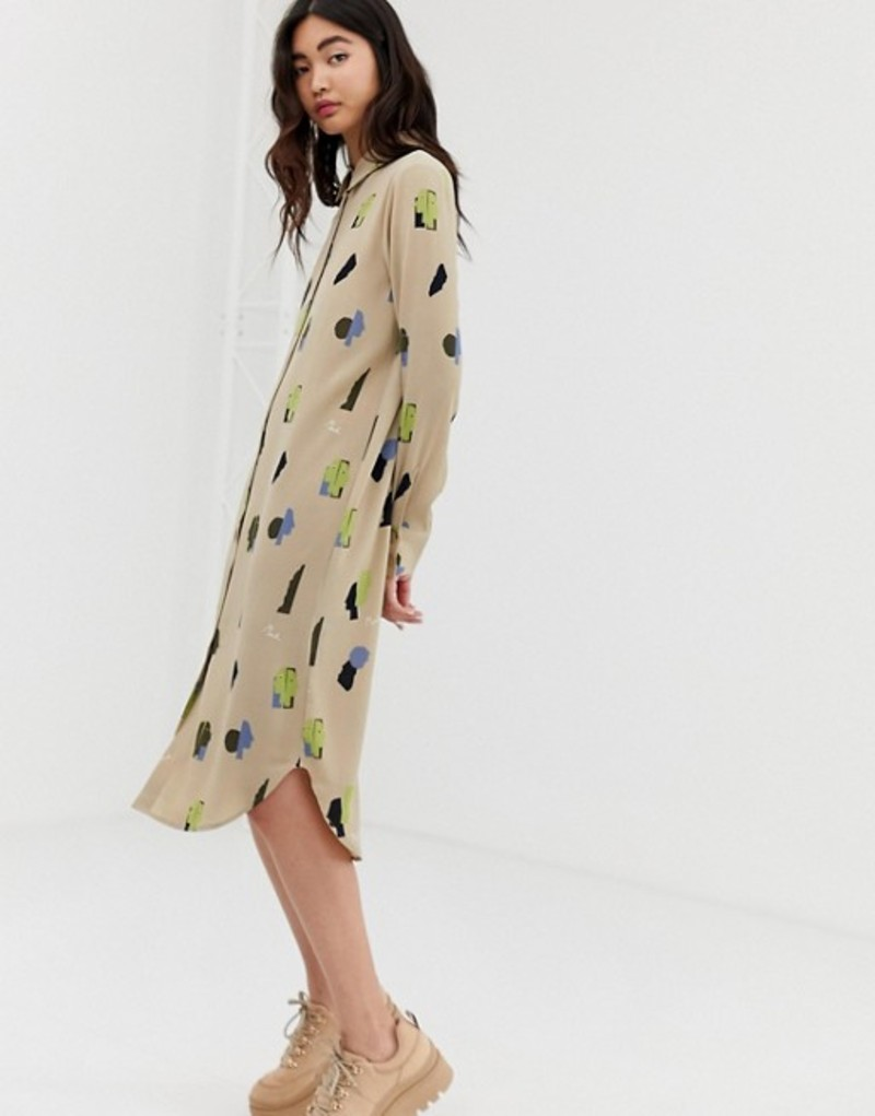 モンキ レディース ワンピース トップス Monki midi shirt dress with face print in beige Beige