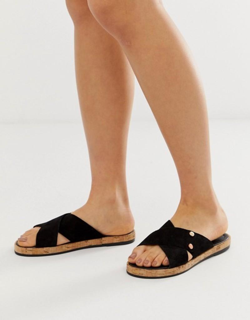 リバーアイランド レディース サンダル シューズ River Island suede sandals with cross strap in black Black