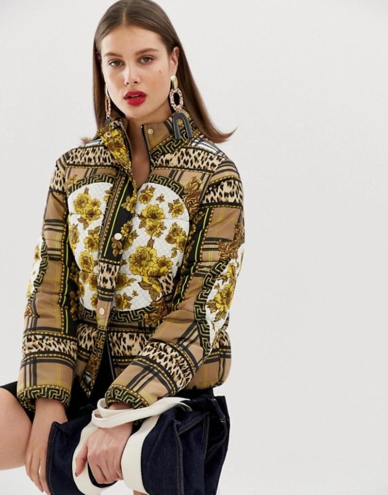 リバーアイランド レディース ジャケット・ブルゾン アウター River Island padded jacket in scarf print Scarf print