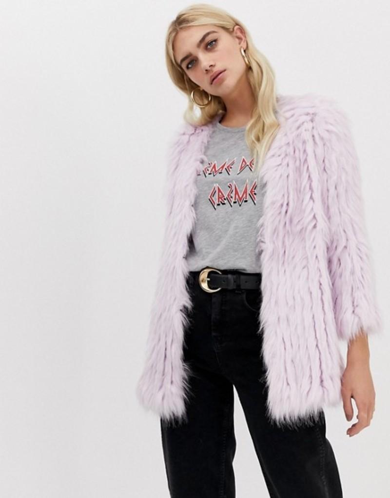 リバーアイランド レディース ジャケット・ブルゾン アウター River Island faux fur coat in purple Lilac