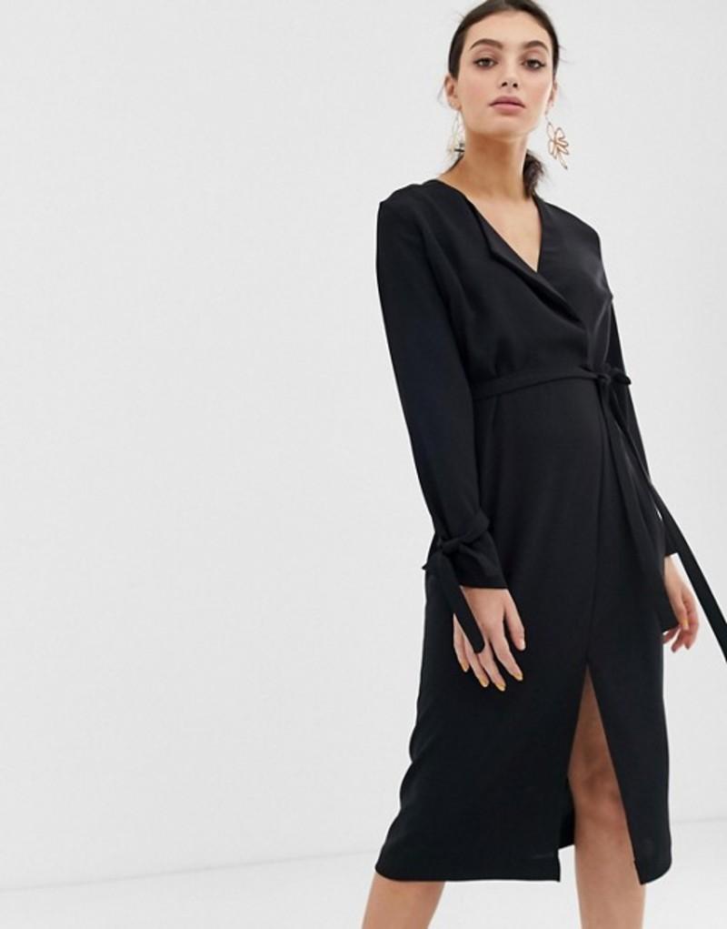 リバーアイランド レディース ワンピース トップス River Island wrap dress in black Black
