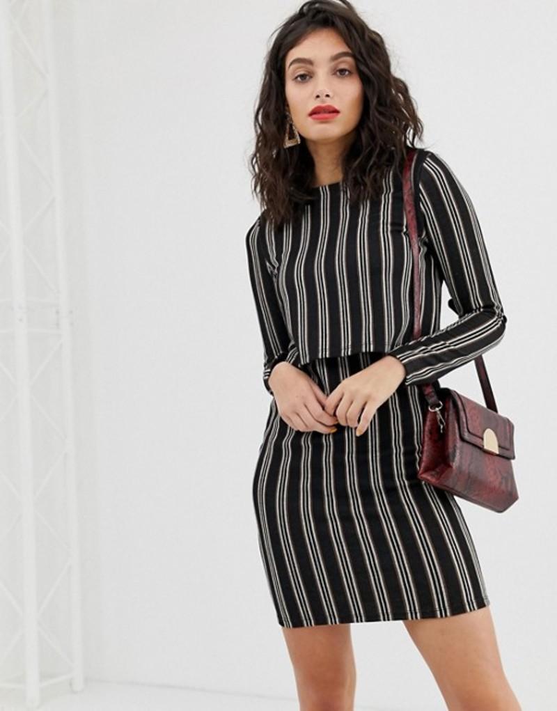 リバーアイランド レディース ワンピース トップス River Island bodycon dress in stripe print Brown stripe