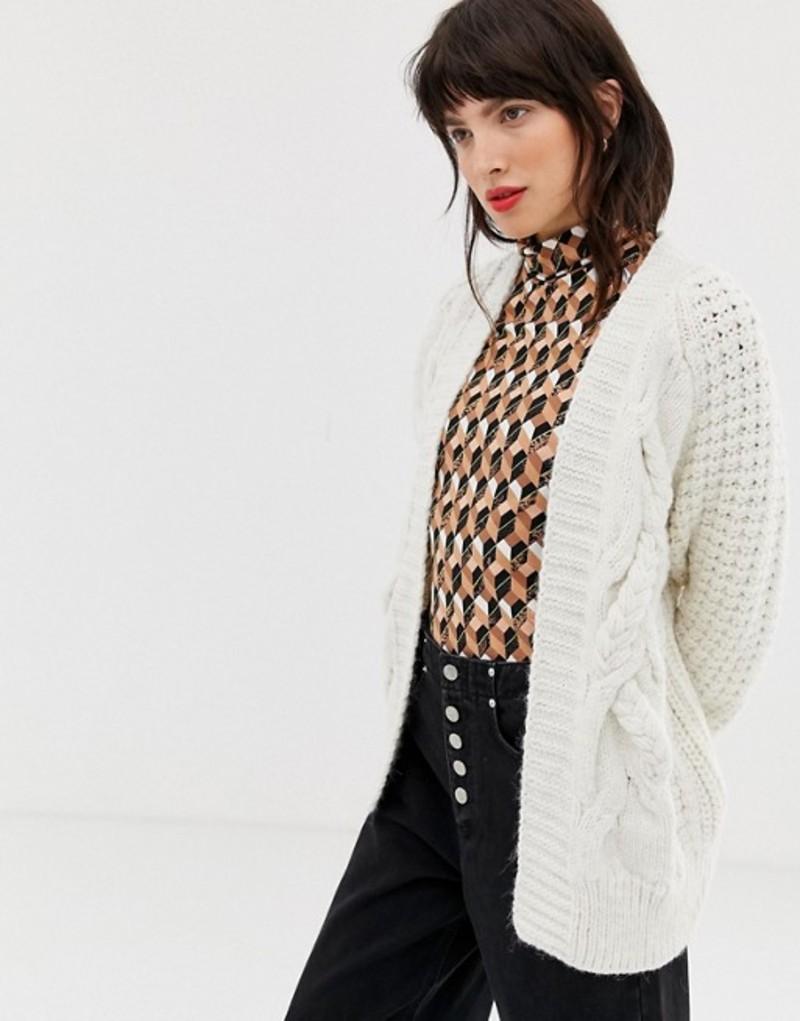 リバーアイランド レディース カーディガン アウター River Island cable knit cardigan in cream Cream